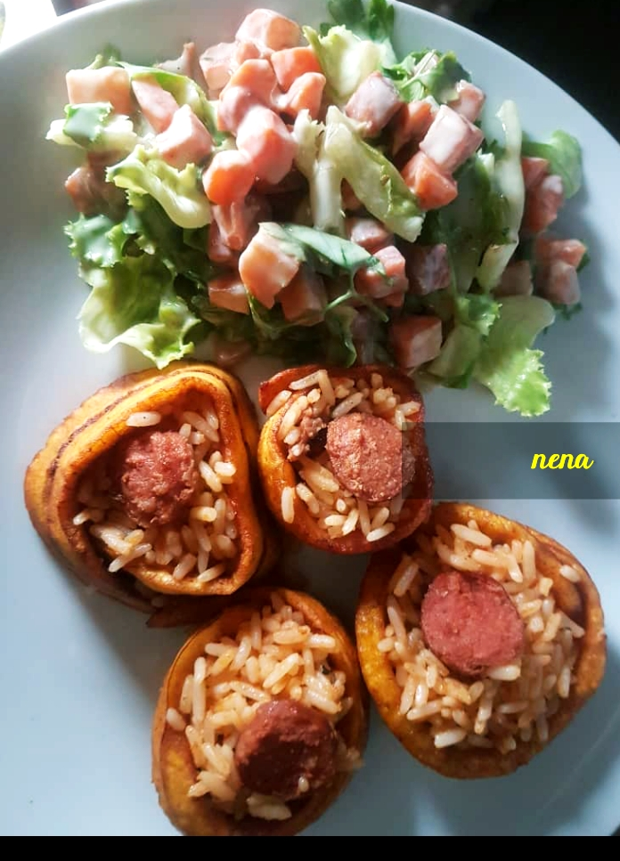 Nigerian Jollof Rice in Plantain rolls